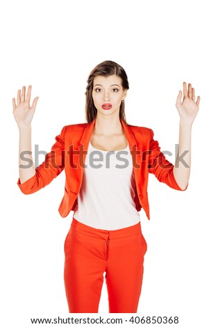 Disappointed young businesswoman in red suit. isolated on white background. business and lifestyle concept - stock photo