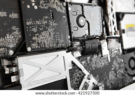 Disassembled computer monitor with internal components, close up - stock photo