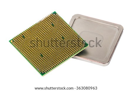 Disassembled CPU on removed cover. Isolated on white background