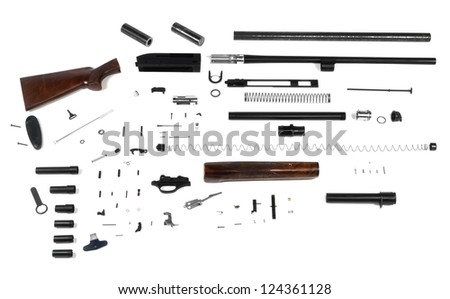 disassembled gun isolated on a white background - stock photo