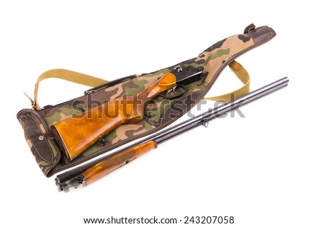Disassembled hunting rifle and case isolated - stock photo