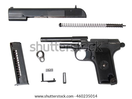 disassembled traumatic gun isolated on white