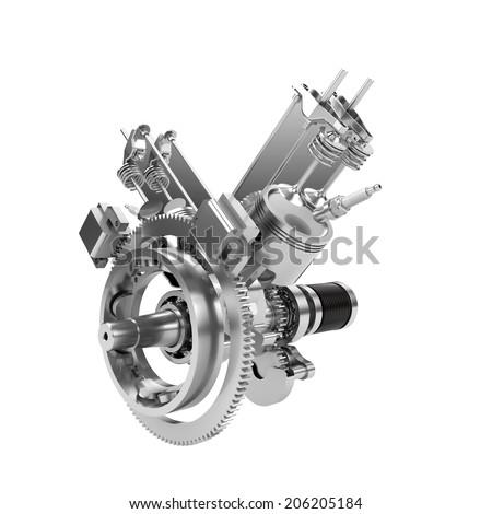 Disassembled V-twin engine of large powerful motorbike isolated on white - stock photo