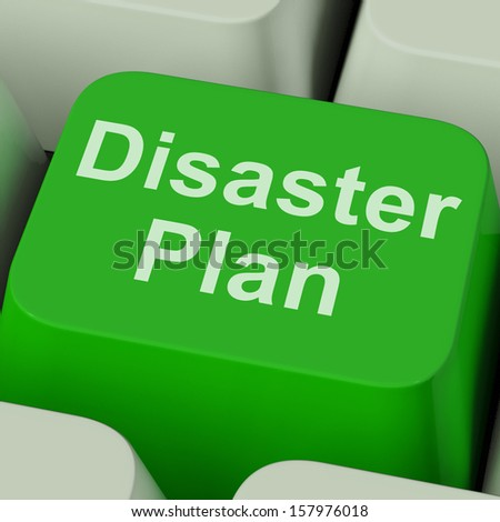 Disaster Plan Key Showing Emergency Crisis Protection - stock photo