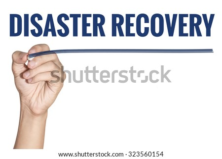 Disaster Recovery word writting by men hand holding blue highlighter pen with line on white background - stock photo