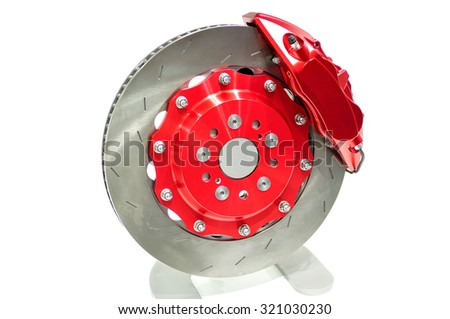 Disc brake with red caliper isolated on white.