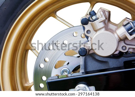 Disc brakes of automotive - stock photo