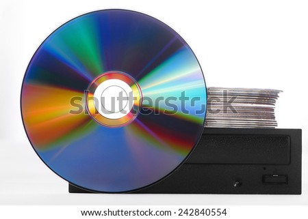 Disc with External writer isolated on white