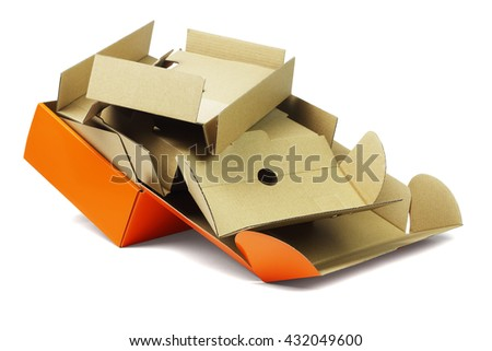 Discarded Package Box and Packing Cardboard on White Background