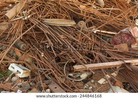 discarded rusty metal heap - stock photo