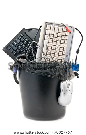 Discarded, used and old computer hardvware. Isolated on white - stock photo