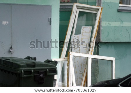 Discarded Window Frames Glass Next Entrance Stock Photo (Royalty ...