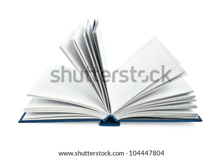 Disclosed notebook in a blue cover isolated on white background