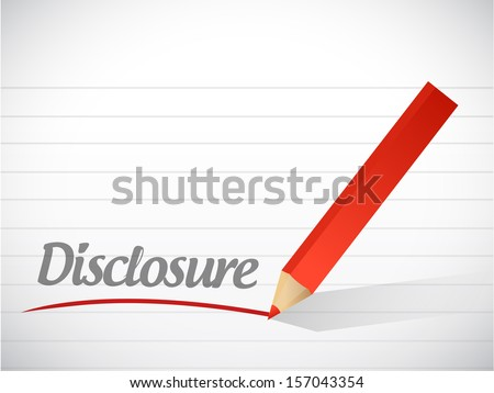 disclosure message written over a paper background - stock photo