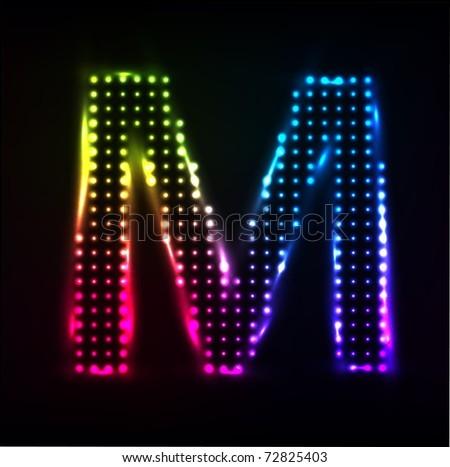 Disco alphabet. Letter M. Raster image - stock photo