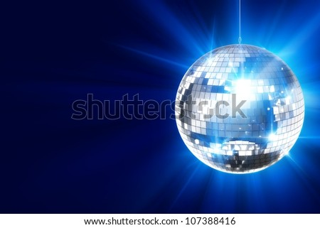 Disco Background with Shiny Retro Disco Ball. Great Background for Disco Party or Small Karaoke Event. Blue Theme