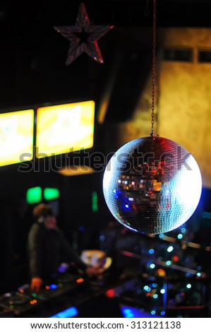 Disco ball at nightclub. Party background. Selective focus - stock photo