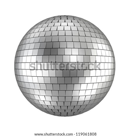 disco ball - 3d render on white - stock photo