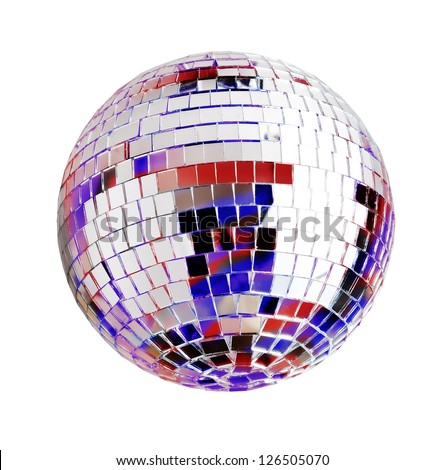 Disco ball, isolated on white - stock photo