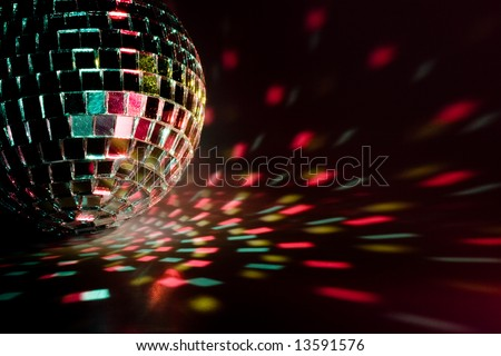Disco ball light reflection background. Close up. - stock photo