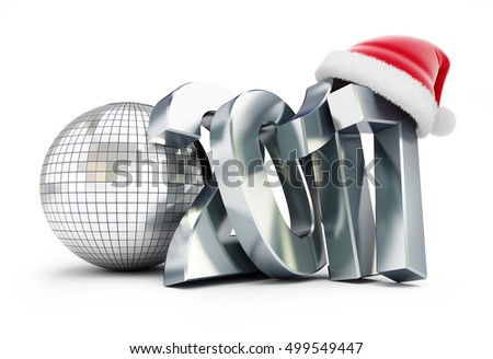 disco ball new year 2017 on a white background 3d Illustrations
