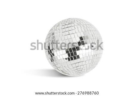 Disco ball on white background with shadow - stock photo