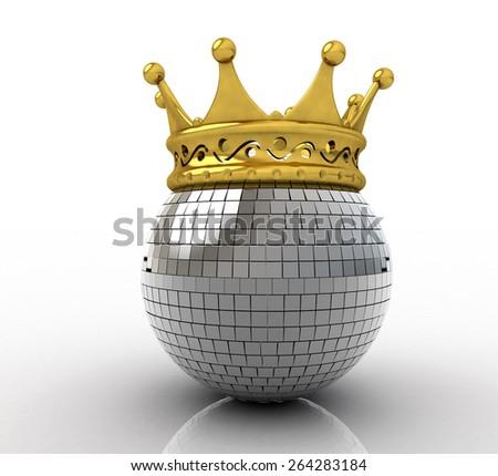 Disco ball wearing a crown - stock photo