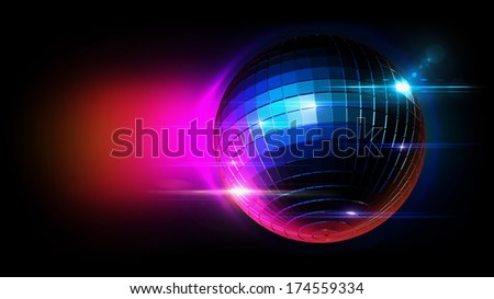 disco ball with lighting scene, illustration. - stock photo