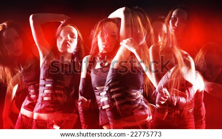 Disco dance. Ghosts of one dancing woman. - stock photo