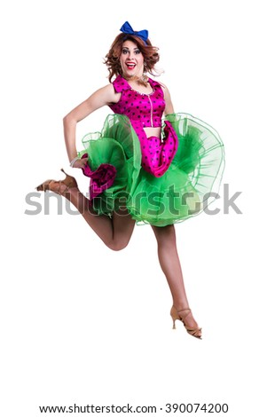 Disco dancer jumping against isolated white