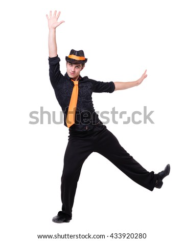 Disco dancer showing some movements against isolated white - stock photo