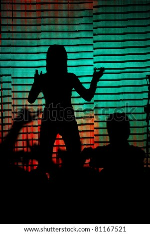 disco dancer silhouette on colored background