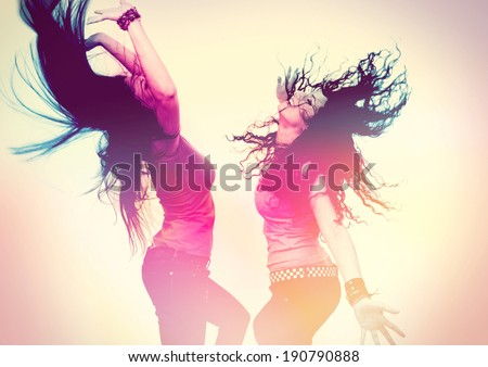 disco disco 02-dancing girls retro style - stock photo