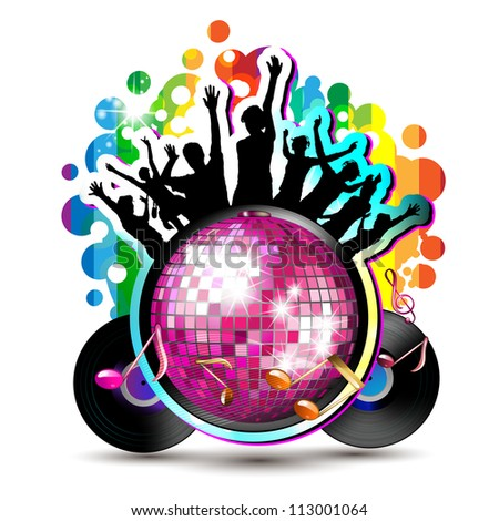 Disco globe with dancing silhouettes and vinyl record - stock photo