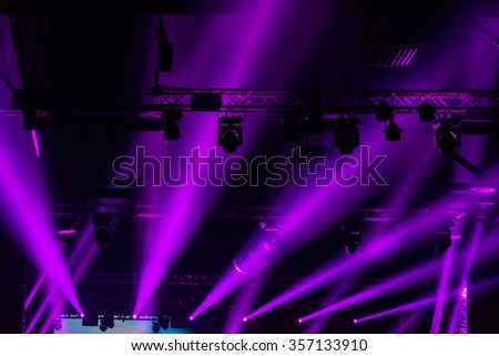 Disco lights at nightclub. Party background. Selective focus - stock photo