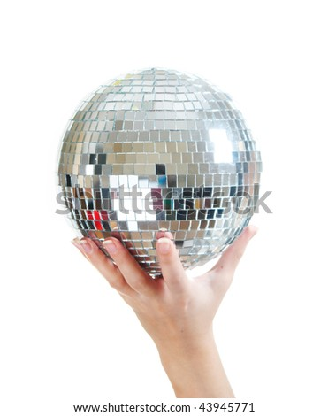 Disco mirror-ball in hand on white