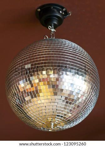 disco mirror ball on attic - stock photo
