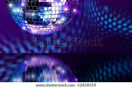 Disco mirror ball reflecting light from polished dark surface - stock photo