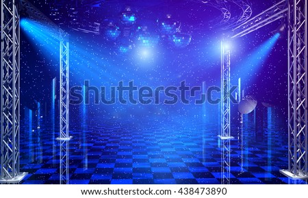 Disco party interior background with blue light rays and chrome scaffold lattice. 3d render  - stock photo