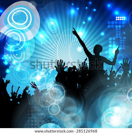 Disco party. Music event background
