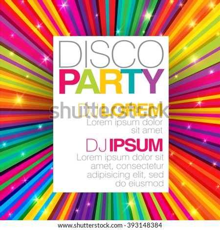 Disco poster or flyer design template on colorful rays background. Raster version
