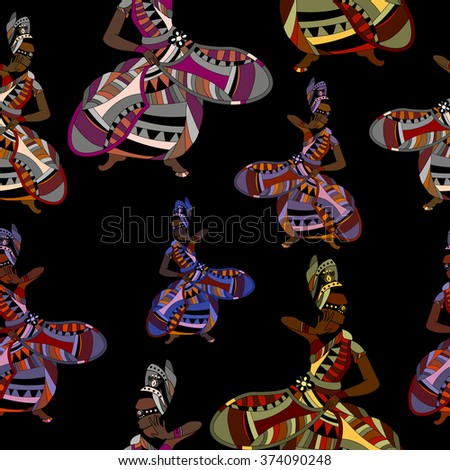 disco seamless background with pattern girl - stock photo