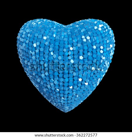 Disco style 3d heart made out of shiny blue colorful crystals isolated on black  Valentines, marriage romance party concept