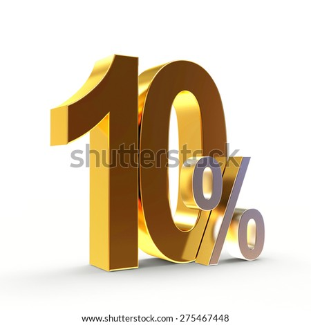 Discount concept. Golden 10 percent isolated on white background
