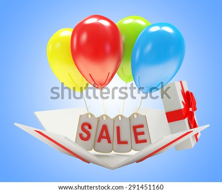 Discount concept. Labels with word SALE and colorful balloons in gift box on blue background