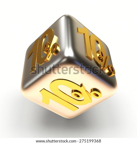Discount concept. 10 percent on a silver sale cube isolated on white background - stock photo