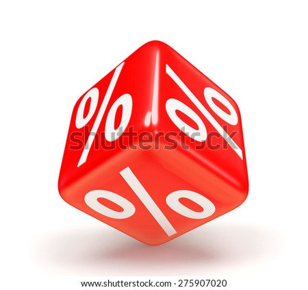 Discount concept. Red cube with percent symbol isolated on a white background