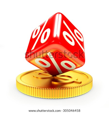 Discount concept. Red cube with percent symbol on golden coin isolated on a white background - stock photo