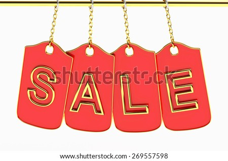 Discount concept. Sale red labels hanging, isolated on white background