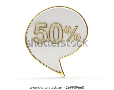 Discount concept. Speech bubbles with fifty percent sign isolated on white background - stock photo